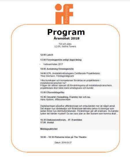 Program och dagordning, årsmöte 2018